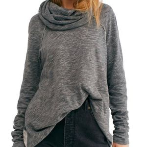 Free People Beach Cowl Neck Cocoon Pullover Grey